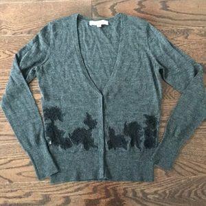 LOFT Gray Cardigan Black Lace Detail